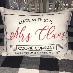 Mrs. Claus cookie company pillow